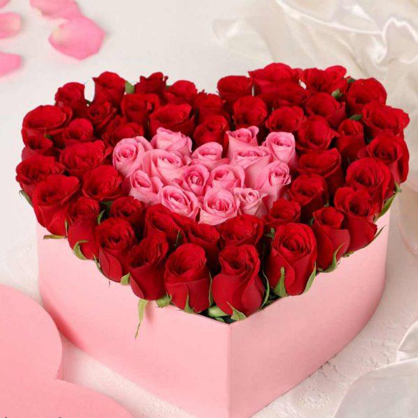 سفارش باکس گل قلب
