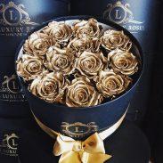 خرید آنلاین و اینترنتی باکس گل رز طلایی با جعبه استواه ای درب دار در تهران از فروشگاه و گلفروشی انلاین شادیچی