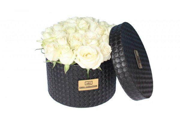 خرید آنلاین و اینترنتی جعبه گل چرمی باکس استوانه ای در تهران از گلفروشی و فروشگاه انلاین شادیچی