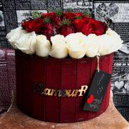 خرید باکس گل چوبی رز قرمز و سفید