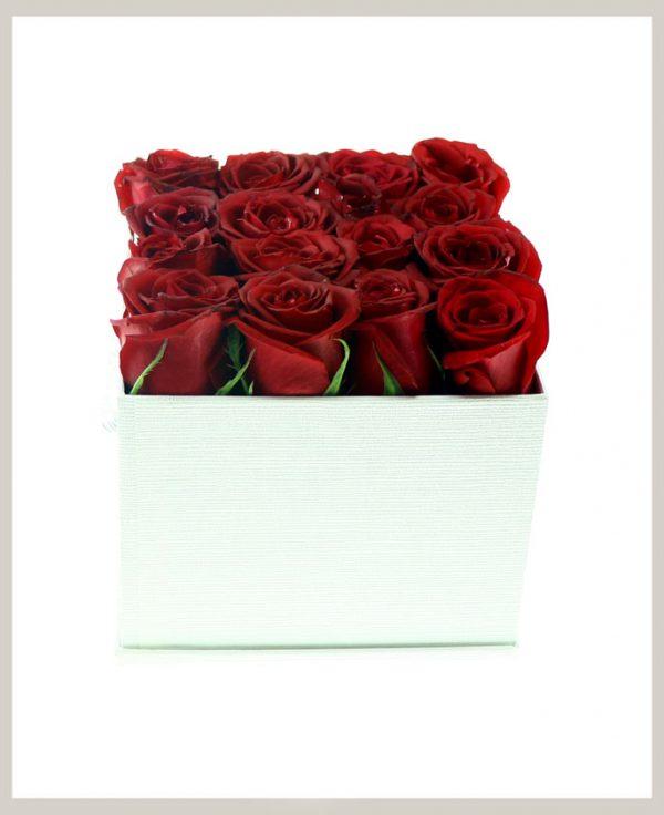 خرید آنلاین و اینترنتی باکس گل ساده رز قرمز با جعبه مکعبی در تهران از گلفروشی و فروشگاه انلاین شادیچی