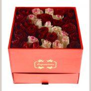 خرید آنلاین باکس گل رز کشویی صورتی و قرمز با جعبه کشودار در تهران از فروشگاه و گلفروشی انلاین و اینترنتی شادیچی