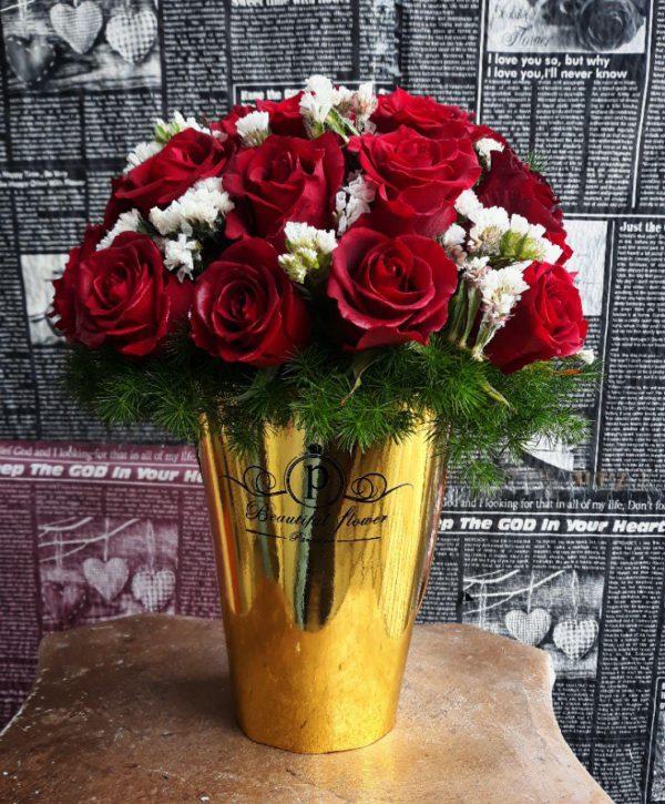 خرید آنلاین و اینترنتی باکس گل رز قرمز با جعبه سطلی طلایی در تهران از گلفروشی و فروشگاه انلاین شادیچی