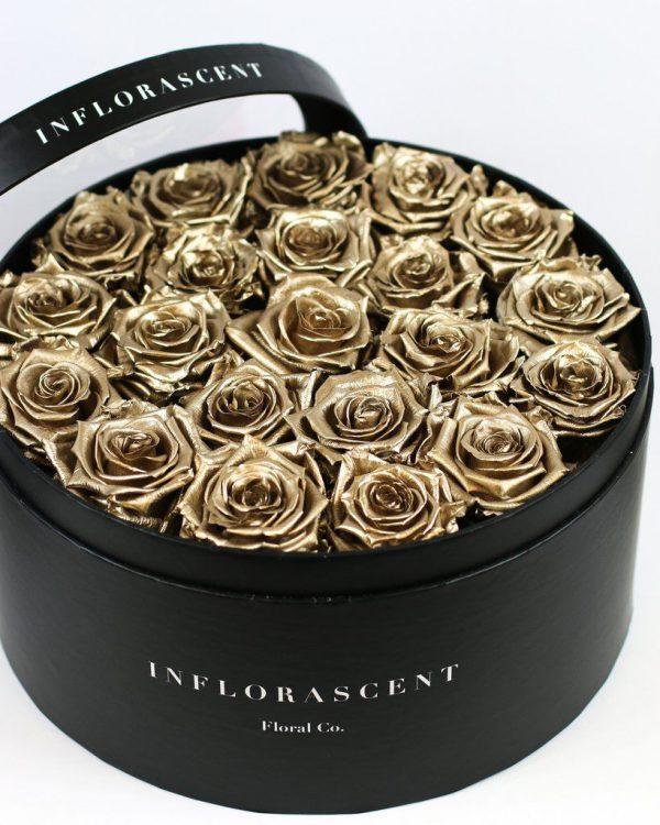 خرید اینترنتی و آنلاین باکس گل رز طلایی با جعبه استوانه ای در تهران از گلفروشی و فروشگاه انلاین شادیچی