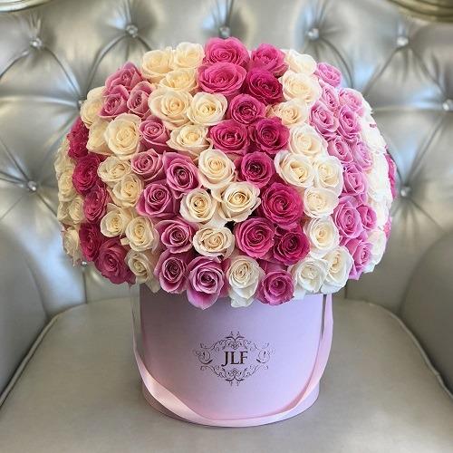 خرید آنلاین و اینترنتی باکس گل استوانه ای رز چند رنگ با جعبه لاکچری در تهران از گلفروشی و فروشگاه انلاین شادیچی
