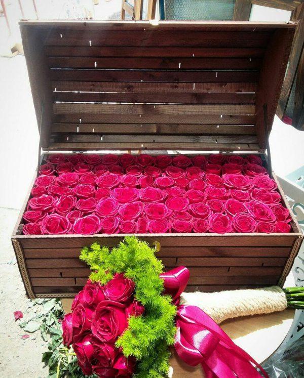 صندوقچه چوبی گل رز