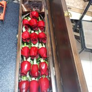 خرید آنلاین و اینترنتی باکس گل خوابیده چوبی رز قرمز با جعبه قفل دار در تهران از فروشگاه و گلفروشی انلاین شادیچی