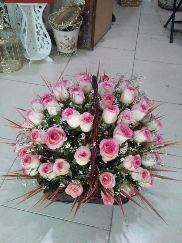 خرید آنلاین و اینترنتی سبد گل صورتی در تهران از گلفروشی و فروشگاه انلاین شادیچی