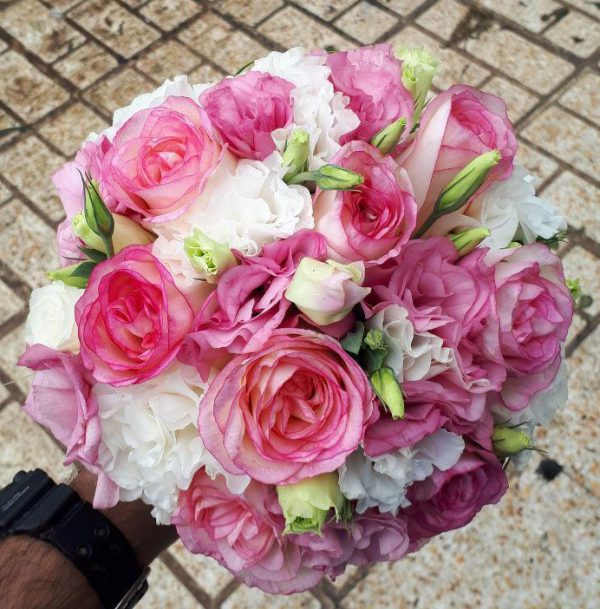 خرید آنلاین و اینترنتی دسته گل صورتی و سفید عروس برای جشن عروسی خواستگاری در تهران از گلفروشی و فروشگاه انلاین شادیچی