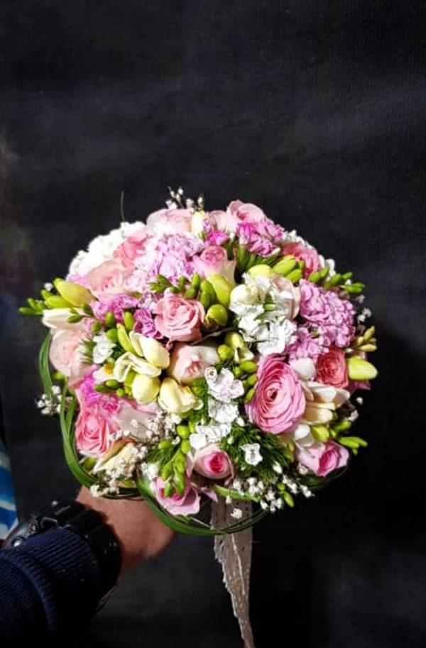 دسته گل سفید صورتی عروس و خواستگاری