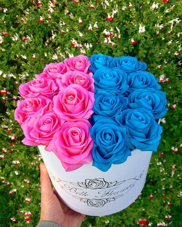 خرید آنلاین جعبه و باکس گل استوانه ای هارد باکس با گل رز آبی و صورتی در تهران از فروشگاه و گلفروشی اینترنتی و انلاین شادیچی