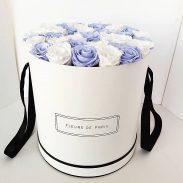 خرید آنلاین و اینترنتی باکس گل آبی و سفید با جعبه استوانه ای برای هدیه تولد و ولنتاین در تهران از فروشگاه و گلفروشی انلاین شادیچی
