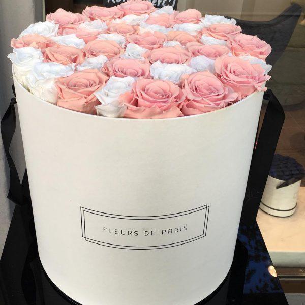 خرید اینترنتی و آنلاین باکس گل رز سفید و صورتی با جعبه استوانه در تهران از فروشگاه و گلفروشی انلاین شادیچی