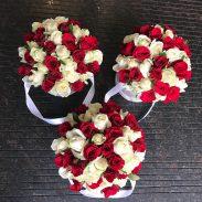 باکس گل استوانه ای هارد باکس با گل رز سفید و قرمز شماره 160