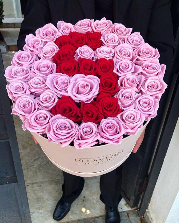 باکس گل استوانه ای هارد باکس با گل رز صورتی و قرمز و طراحی حرف S شماره 151