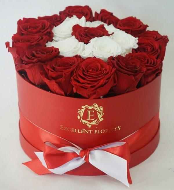 باکس گل استوانه ای هارد باکس با گل رز قرمز و سفید شماره 156