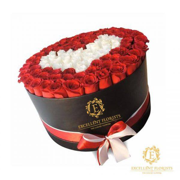باکس گل استوانه ای هارد باکس با گل رز قرمز و سفید و طراحی شکل قلب شماره 185