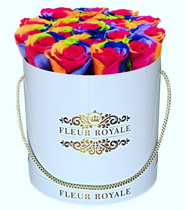 باکس گل استوانه ای هارد باکس با گل رز هفت رنگ شماره 152