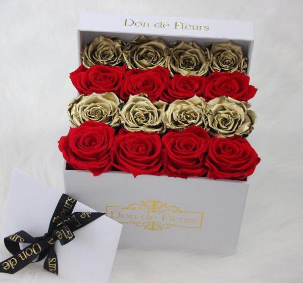 خرید اینترنتی و آنلاین باکس گل مکعبی با جعبه هارد باکس با گل رز قرمز و طلایی در تهران از فروشگاه و گلفروشی انلاین شادیچی
