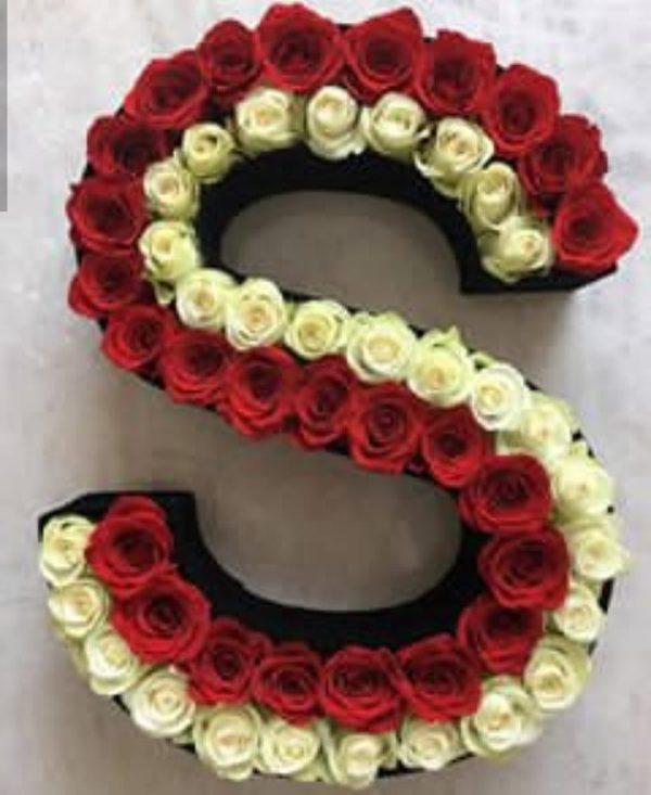 باکس گل چوبی حرف S با گل رز سفید و قرمز شماره 153