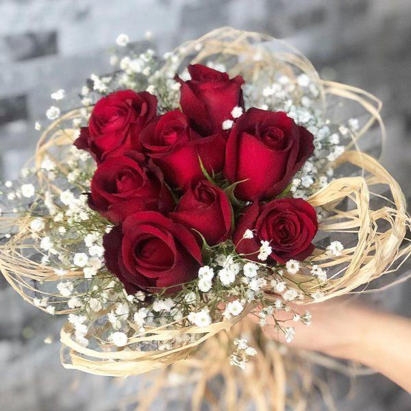 دسته گل عروس با گل رز قرمز شماره 199